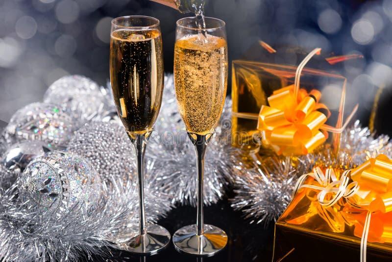 圣诞节的闪耀的香槟 图库摄影