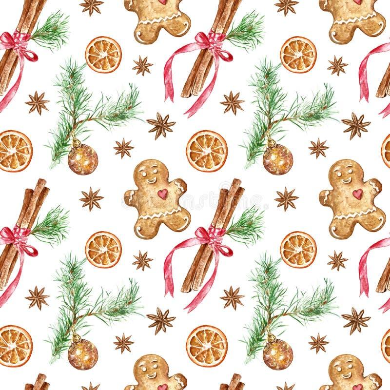 圣诞节的,新年冬天欢乐无缝的样式假日 手画肉桂条,与圆的玻璃的松树分支 向量例证