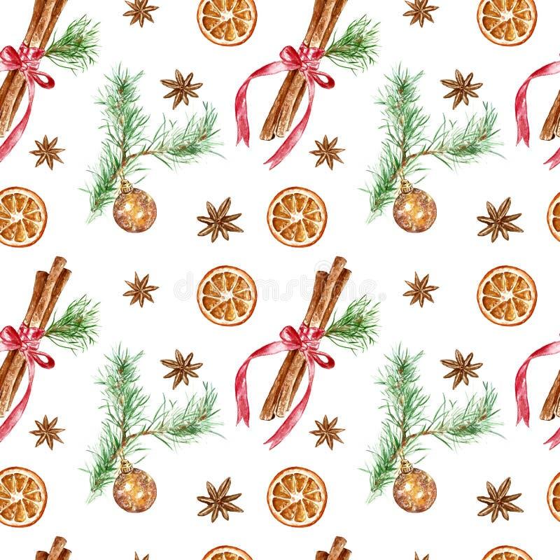 圣诞节的,新年冬天欢乐无缝的样式假日 手画肉桂条,与玻璃球的松树分支 免版税库存图片