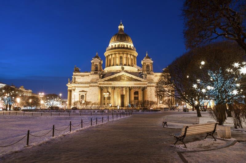 圣诞节的St以撒的大教堂 免版税库存照片