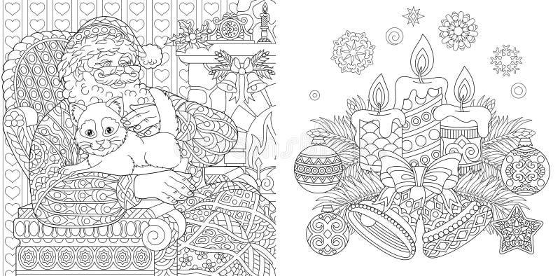 圣诞节着色页 成人的彩图 有猫的圣诞老人 背景新年度 葡萄酒Xmas装饰品 向量例证