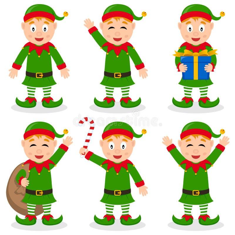 圣诞节矮子被设置的漫画人物 库存例证