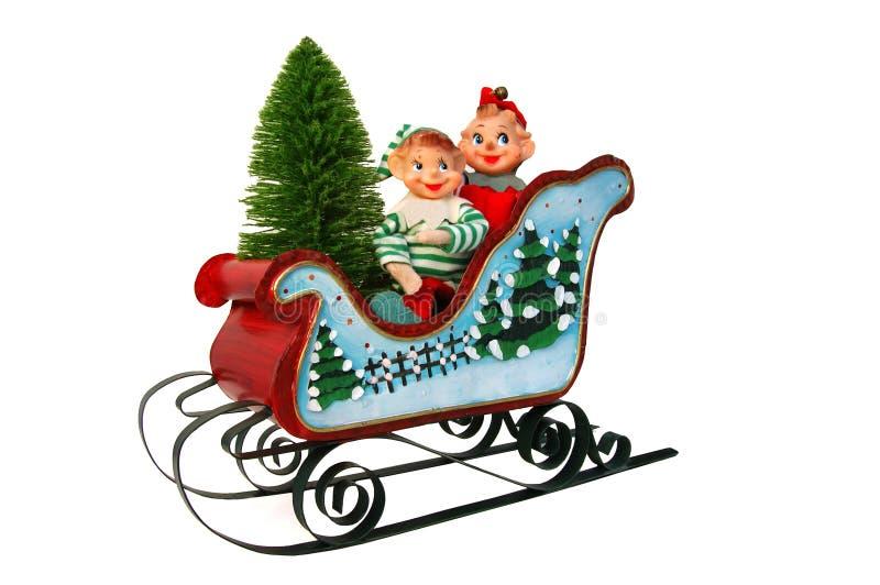 圣诞节矮子雪橇结构树 库存照片
