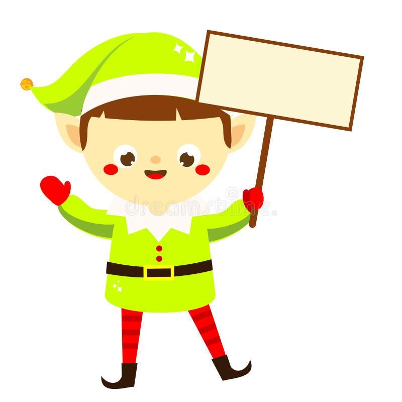 圣诞节矮子 拿着空的横幅的逗人喜爱的圣诞老人的帮手 新年问候设计的卡通人物 库存例证