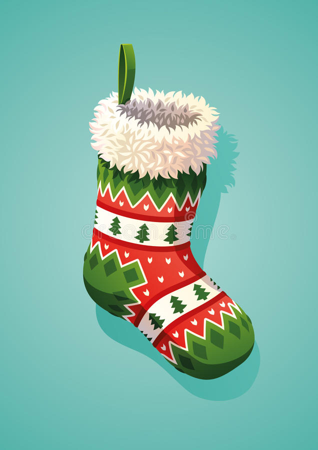 圣诞节礼品例证红色袜子向量白色 库存例证