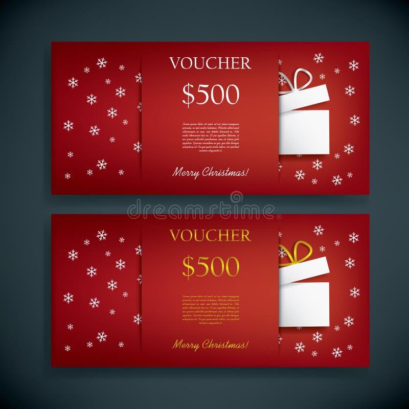 圣诞节礼品券证件模板与 向量例证