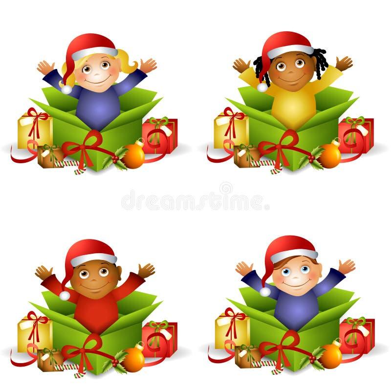 圣诞节礼品孩子 向量例证