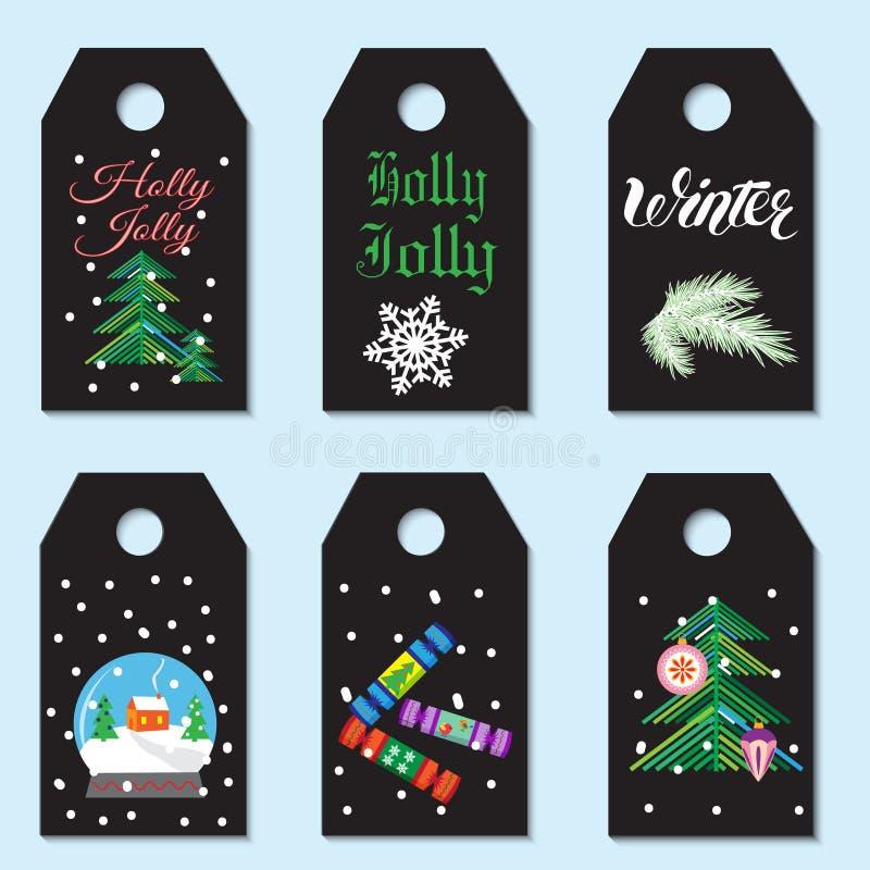 圣诞节礼品集合标签 创造性的手拉的纹理为冬天 皇族释放例证
