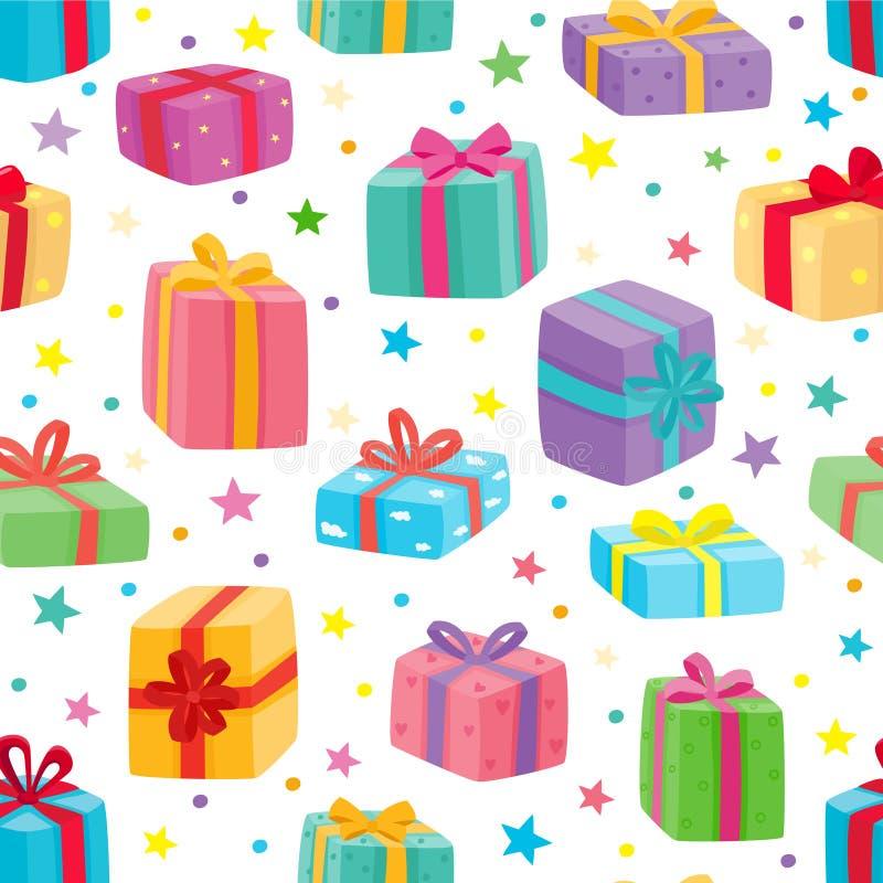 圣诞节礼物无缝的模式 动画片礼物的传染媒介例证 皇族释放例证