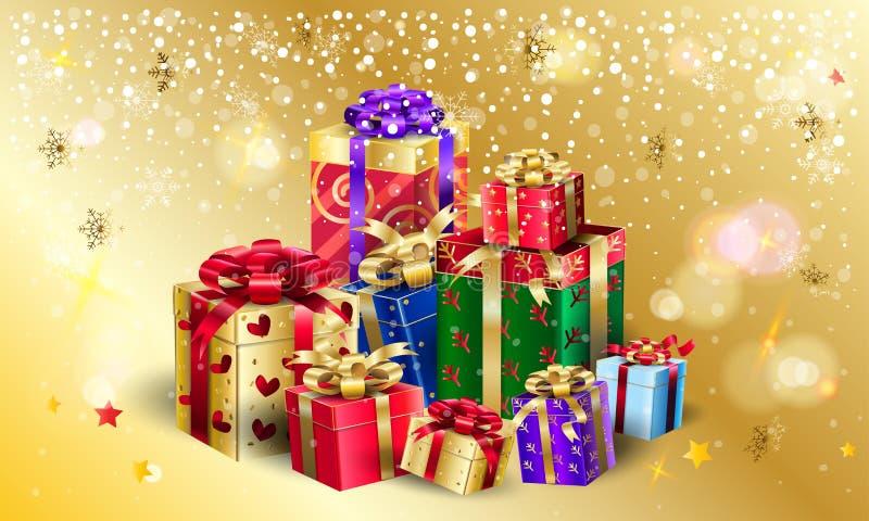 圣诞节礼物盒小组提出金bokeh光 向量例证