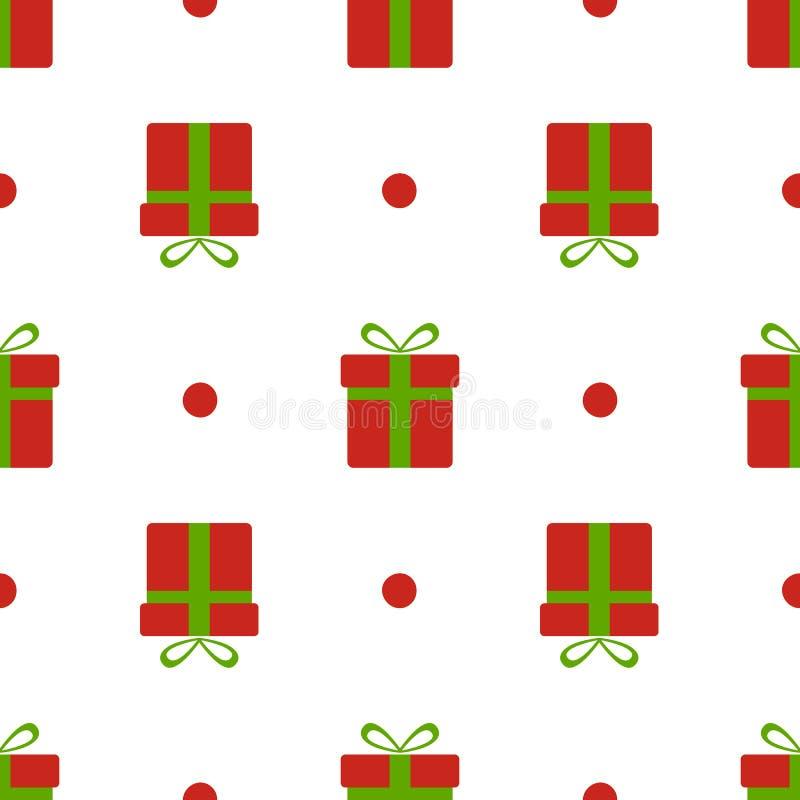 圣诞节礼物盒样式 有绿色在白色背景隔绝的弓和雪的红色xmas箱子 当前无缝 库存例证