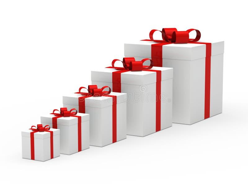 圣诞节礼物盒空白红色丝带 皇族释放例证