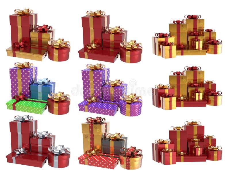 圣诞节礼物3D设置了1 库存图片