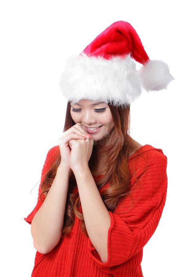 圣诞节秀丽女孩做一个愿望 免版税图库摄影