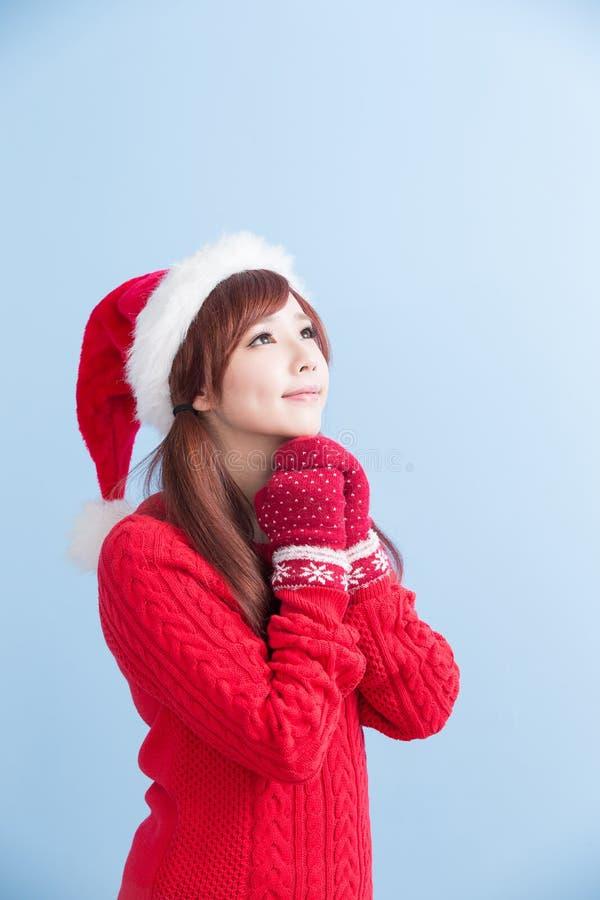 圣诞节秀丽女孩做愿望 库存图片