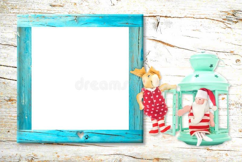 圣诞节空的照片框架卡片 免版税库存图片