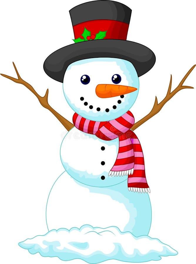 圣诞节穿帽子和红色围巾的雪人动画片 皇族释放例证