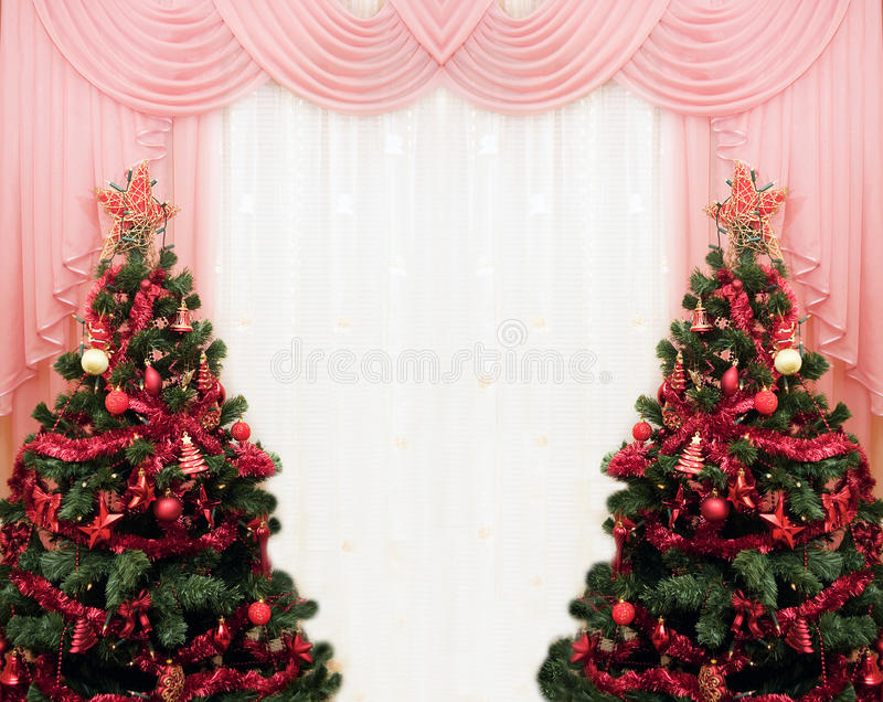 圣诞节窗帘结构树二 免版税库存照片