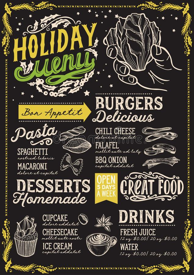 圣诞节素食餐馆的菜单模板 向量例证