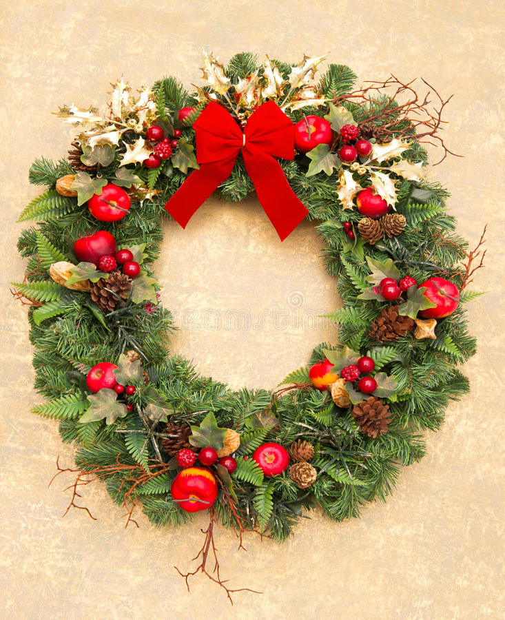 圣诞节红色丝带花圈 免版税库存图片