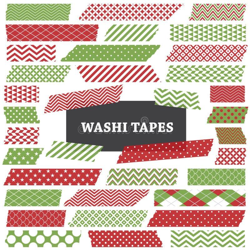 圣诞节红色和绿色Washi磁带剥离剪贴美术 库存例证
