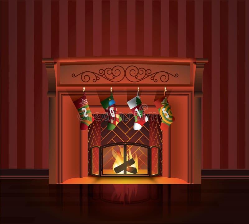 圣诞节红色壁炉 皇族释放例证