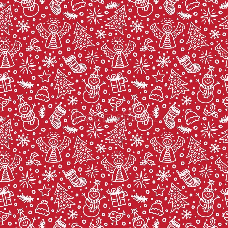 圣诞节红色无缝的模式 向量 皇族释放例证