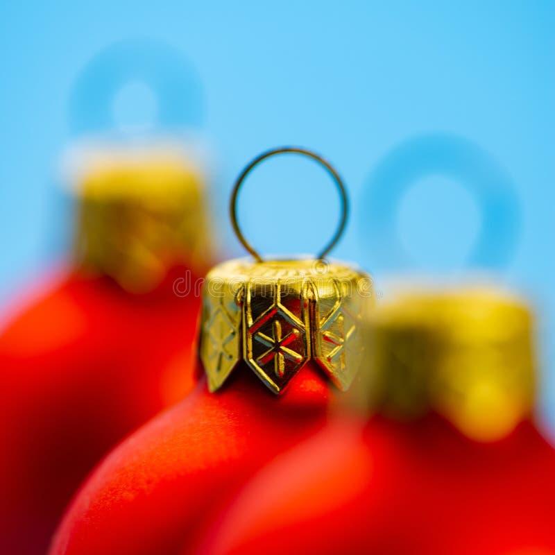 圣诞节红色球,特写镜头 网络设计 免版税图库摄影