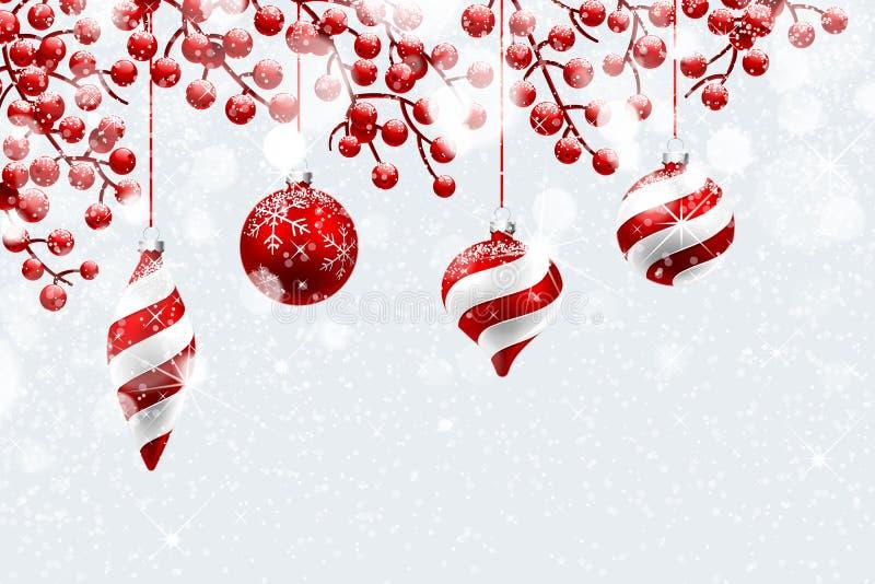 圣诞节红色装饰 向量例证
