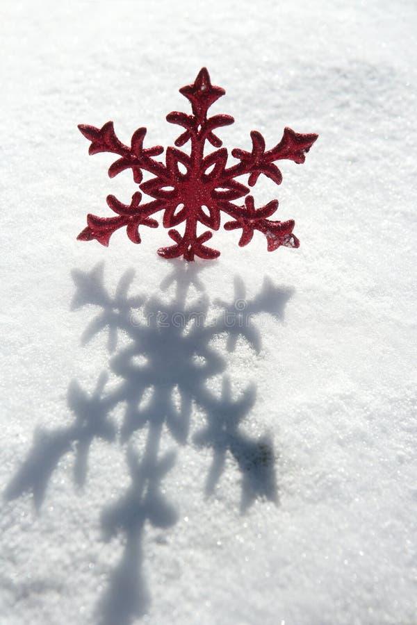 圣诞节红色雪星形 免版税库存照片