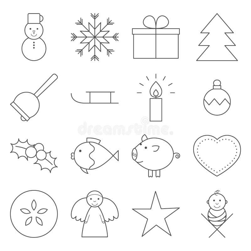 圣诞节线象 库存例证