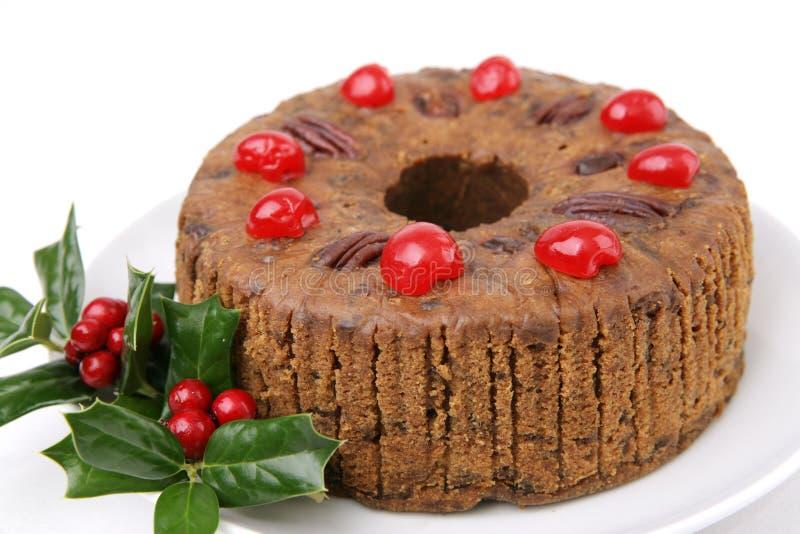 圣诞节经典之作水果蛋糕 免版税库存照片