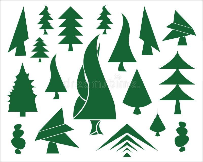 圣诞节绿色图标结构树 向量例证
