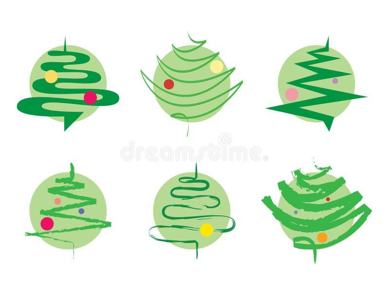 圣诞节绿色图标结构树 库存例证