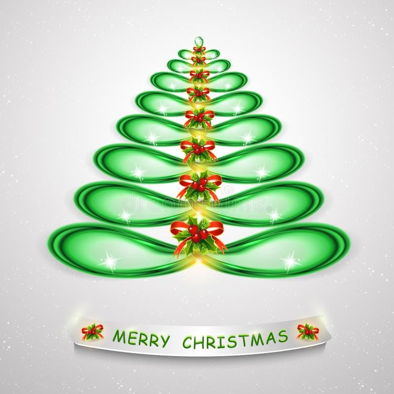 圣诞节绿色结构树 抽象现代3d照亮了创造性的图形设计的圣诞树 现代3D例证 皇族释放例证