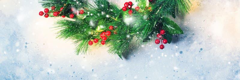 圣诞节绿色装饰花圈霍莉莓果 库存图片