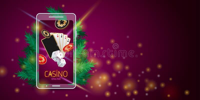 圣诞节网上赌博娱乐场横幅 向量例证