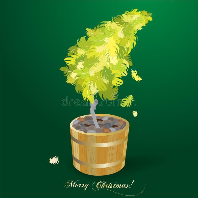 圣诞节羽毛做结构树 图库摄影