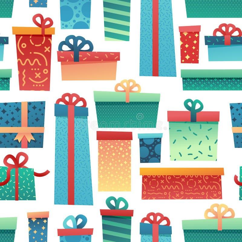 圣诞节背景和包装纸的设计无缝的样式 与例证礼物和礼物盒的墙纸 库存例证