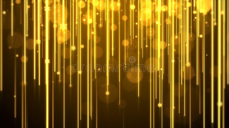 圣诞节背景金子题材,与光条纹, bokeh闪烁和微粒雪花 皇族释放例证