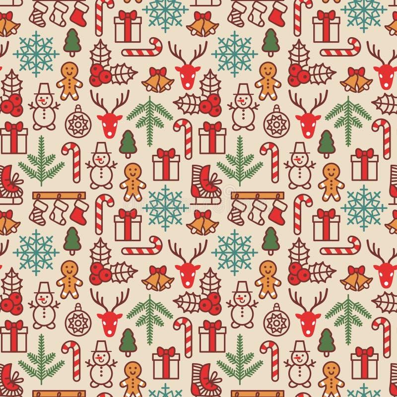圣诞节背景,无缝的盖瓦 也corel凹道例证向量 皇族释放例证