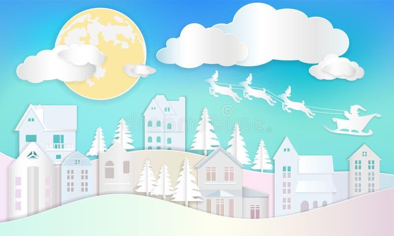 圣诞节背景,有驯鹿飞行的圣诞老人在蓝色 库存例证