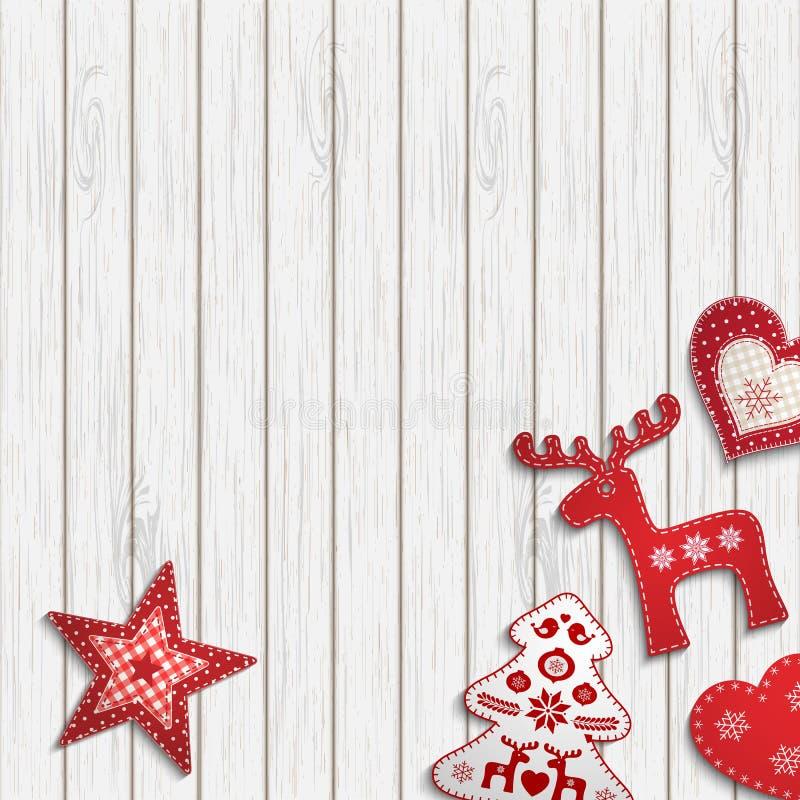 圣诞节背景,说谎在木书桌,例证上的小斯堪的纳维亚被称呼的装饰 向量例证