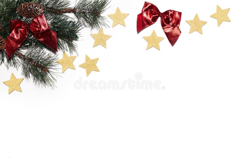 圣诞节背景-杉木、金星和红色丝带在白色 免版税库存照片