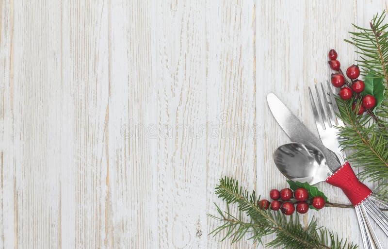 圣诞节膳食表设置背景 免版税库存图片