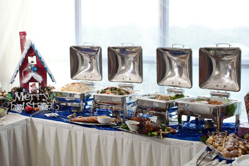 圣诞节自助餐设置 免版税库存照片