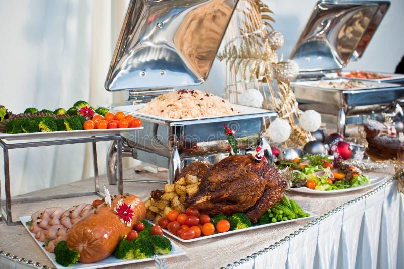 圣诞节自助餐设置 库存图片