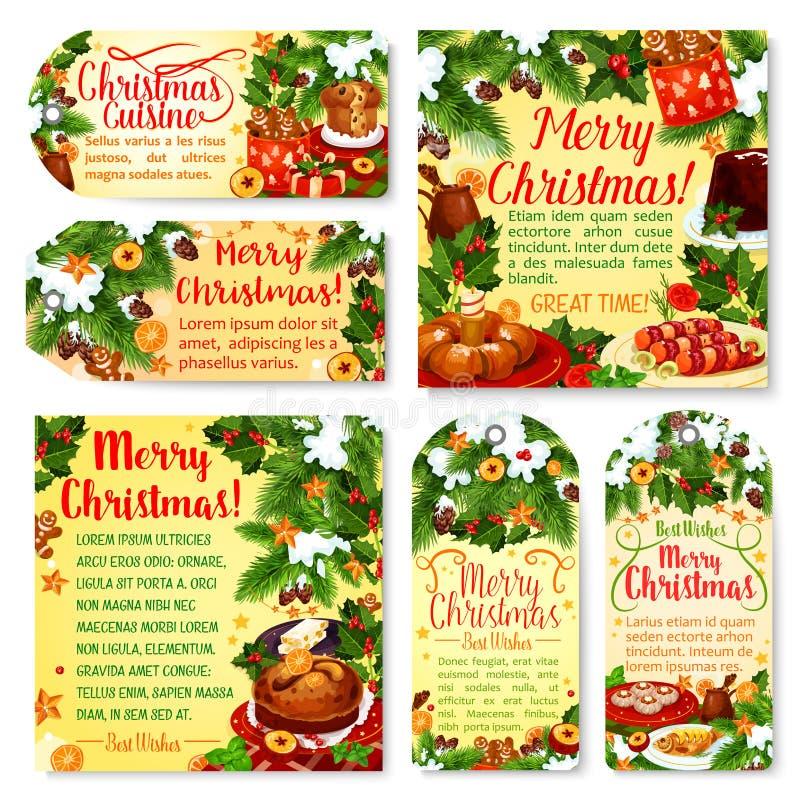 圣诞节节日晚会标记和贺卡 向量例证