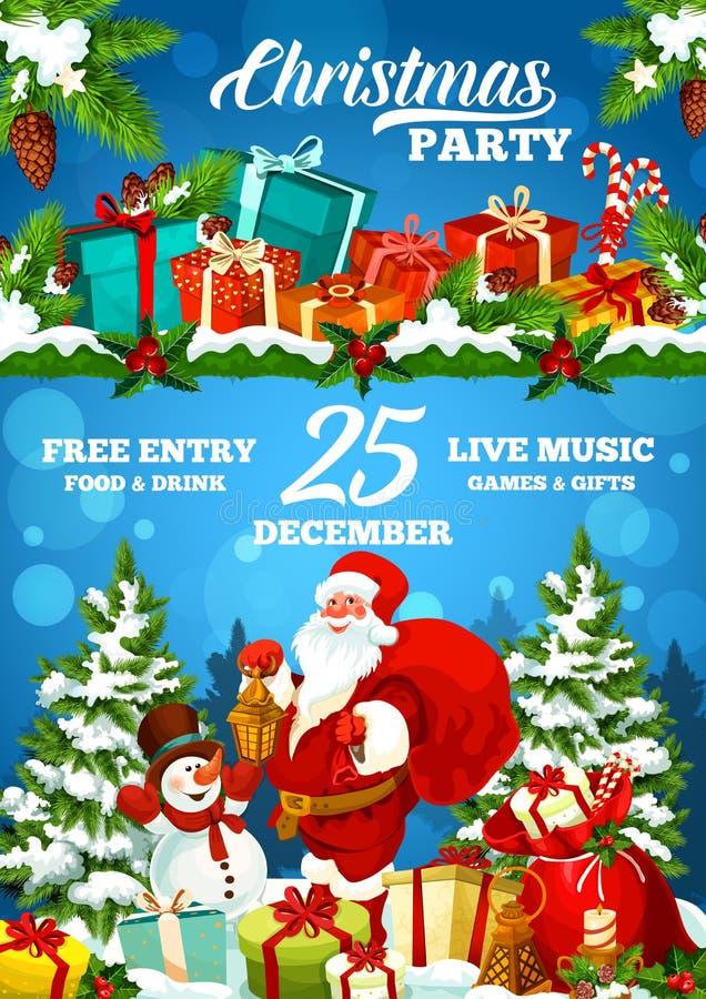 圣诞节节日晚会海报、圣诞老人和礼物 皇族释放例证