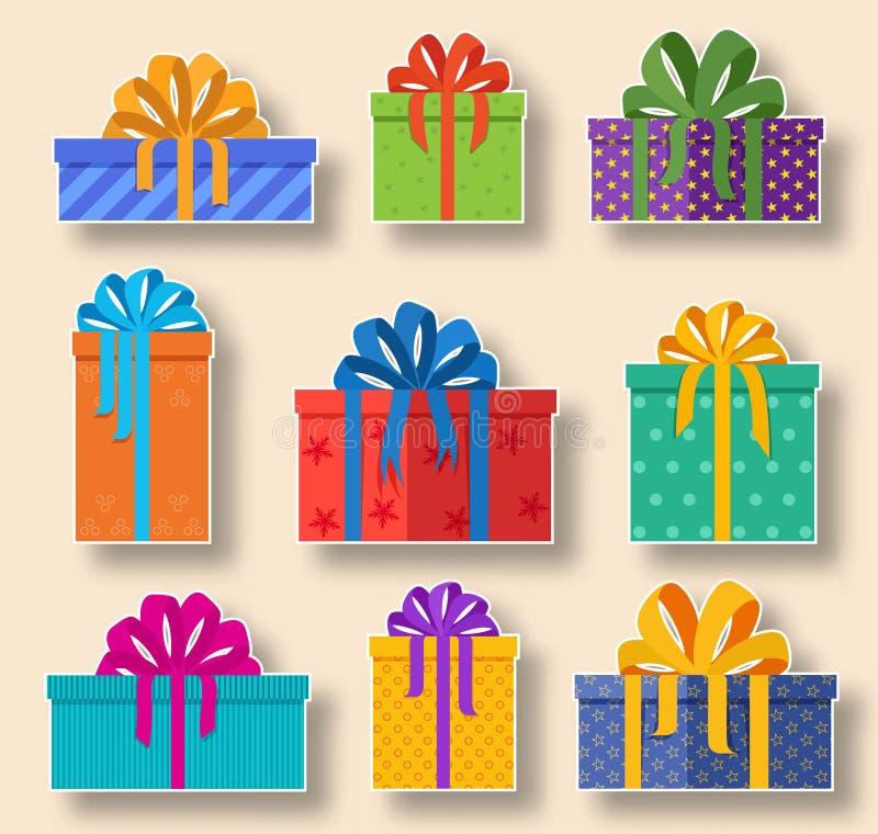 圣诞节节日礼物贴纸在轻的背景设置了 传染媒介当前象收藏 皇族释放例证